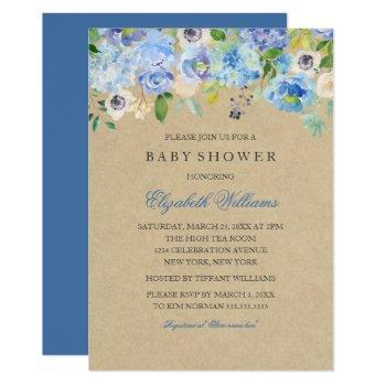 rustic vintage blue floral  boy baby shower invite