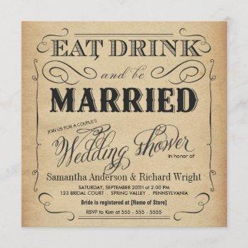 rustic vintage wedding shower invitations