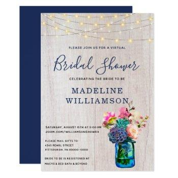 rustic virtual bridal shower mason jar succulents invitation