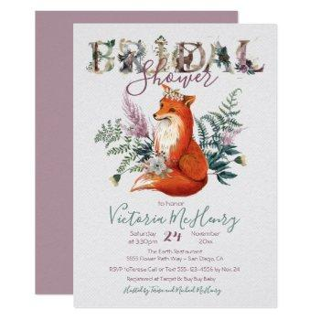 rustic watercolor forest fox bridal shower invitation