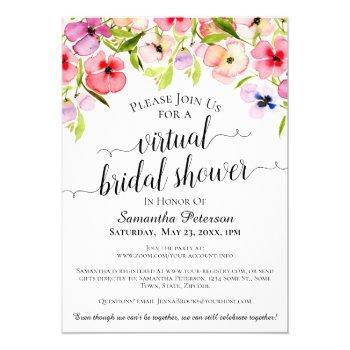 rustic watercolor pansies virtual bridal shower invitation