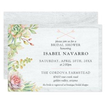 rustic watercolor succulent cactus bridal shower invitation
