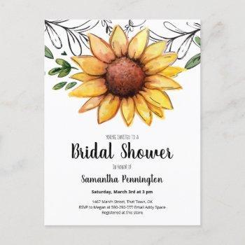 rustic watercolor sunflower bridal shower invitation postcard