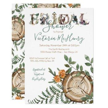 rustic watercolor woodland log bridal shower invitation