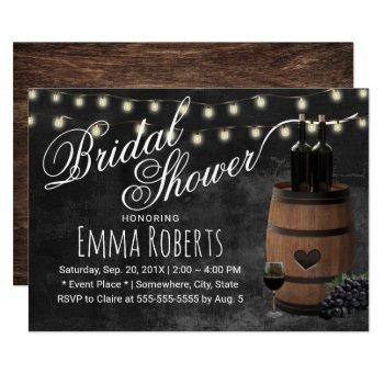 rustic wine barrel chalkboard bridal shower invitation