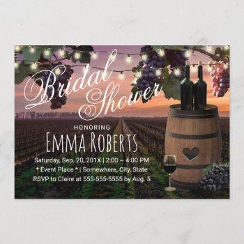rustic wine barrel country vineyard bridal shower invitation