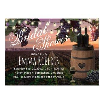 rustic wine barrel country vineyard bridal shower invitation