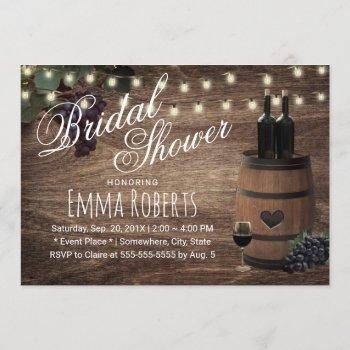 rustic wine barrel country winery bridal shower invitation