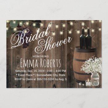 rustic wine barrel floral jar winery bridal shower invitation