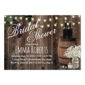 rustic wine barrel floral jar winery bridal shower invitation