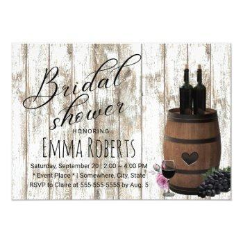 rustic wine barrel weathered wood bridal shower invitation
