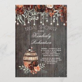 rustic winery floral lights burgundy bridal shower invitation