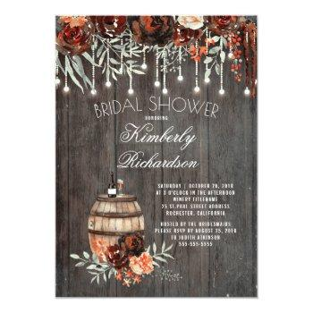 rustic winery floral lights burgundy bridal shower invitation
