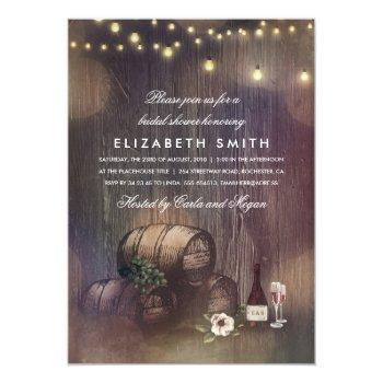 rustic winery lights wine tasting bridal shower invitation