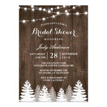 rustic winter bridal shower string light pine tree invitation