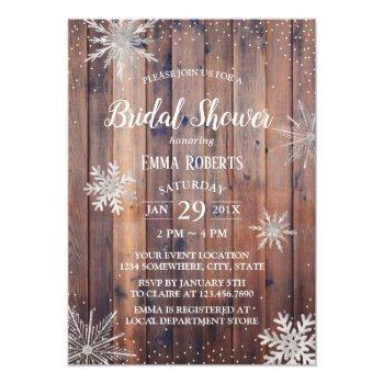 rustic winter snowflakes barn wood bridal shower invitation