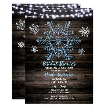 rustic winter snowflakes & lights bridal shower invitation