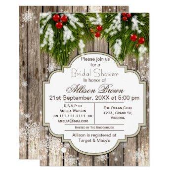 rustic winter woodland bridal shower invitation