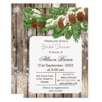 rustic winter woodland pine cones bridal shower invitation