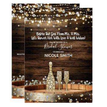 rustic wood barrel lights champagne bridal shower invitation