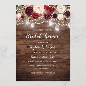 rustic wood burgundy floral lights bridal shower invitation