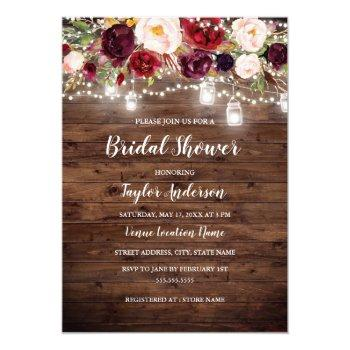 rustic wood burgundy floral lights bridal shower invitation
