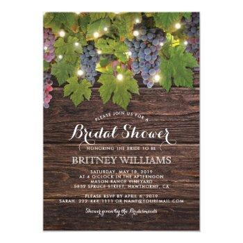 rustic wood country winery wedding bridal shower invitation