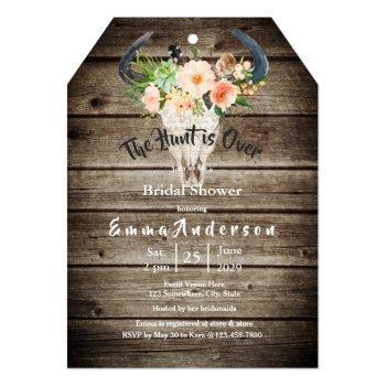 rustic wood floral antler hunting bridal shower invitation