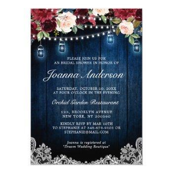 rustic wood floral mason jar bridal shower invitation