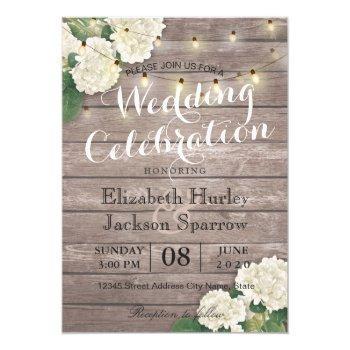 rustic wood floral string light wedding invitation