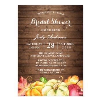 rustic wood leaves pumpkin fall bridal shower invitation