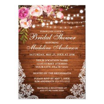 rustic wood lights lace floral bridal shower invitation