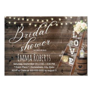 rustic wood love ladder wine barrel bridal shower invitation