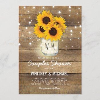 rustic wood mason jar sunflowers lights wedding invitation