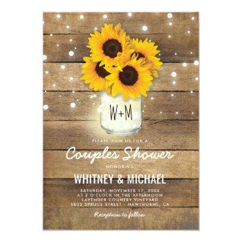 rustic wood mason jar sunflowers lights wedding invitation