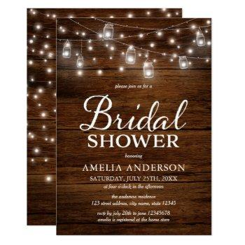 rustic wood mason jars and lights bridal shower invitation