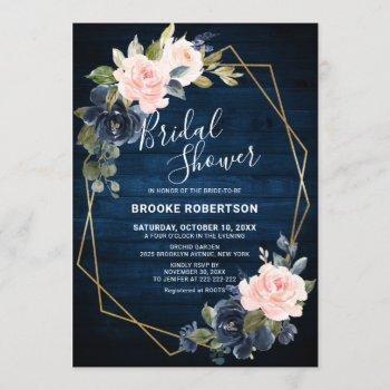 rustic wood navy blush geometric bridal shower invitation
