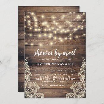 rustic wood & string lights bridal shower by mail invitation