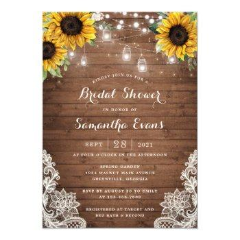 rustic wood sunflower string light lace mason jars invitation