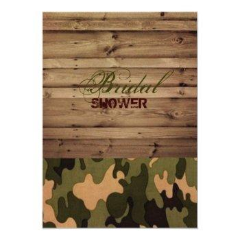 rustic wood western country camo bridal shower invitation