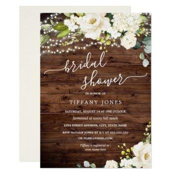rustic wood white floral lights bridal shower invitation