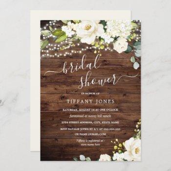 rustic wood white floral lights bridal shower invitation
