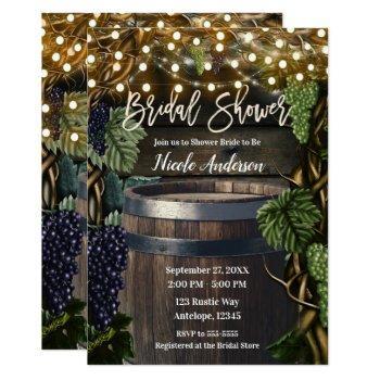 rustic wooden barrel grape vines bridal shower invitation
