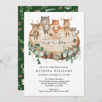 rustic woodland animals greenery boy baby shower invitation