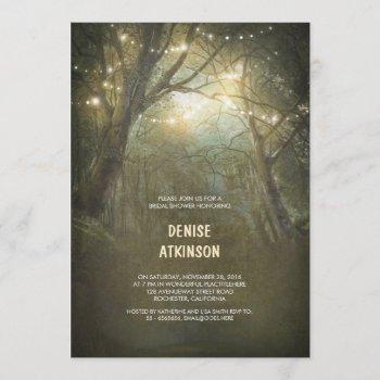 rustic woodland string lights bridal shower invitation