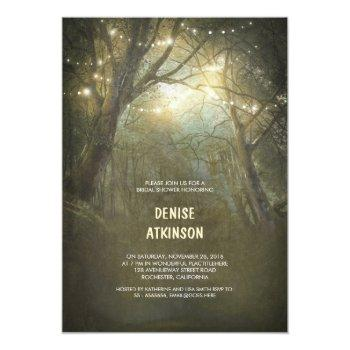 rustic woodland string lights bridal shower invitation