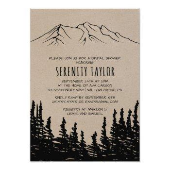 rustic woodsy mountain bridal shower invitation