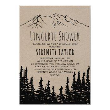 rustic woodsy mountain lingerie shower invitation