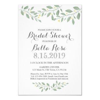 sage green floral minimalist bridal shower invite