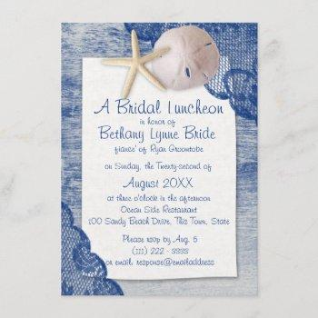 sand dollar and lace blue bridal shower invitation